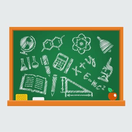 simbolos matematicos: Conjunto de iconos de la escuela en una pizarra