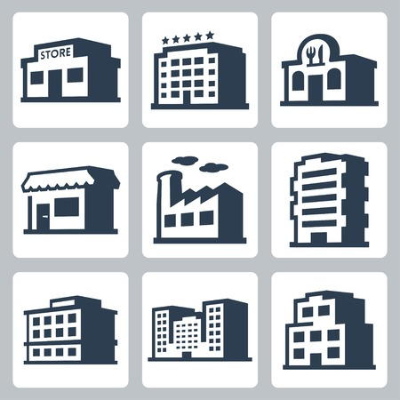 Buildings vector icons set, isometric style #1 Vector