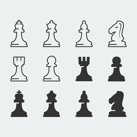 chess knight: Chess figures vector icons set