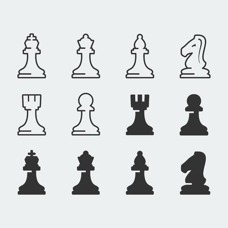caballo de ajedrez: Figuras del ajedrez iconos conjunto de vectores Vectores