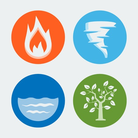 fire water: Four elements - vector icons set #1