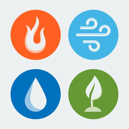 flat leaf: Four elements - vector icons set #2