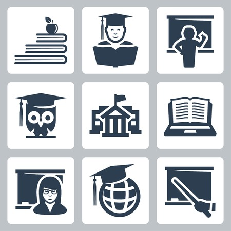 Higher education vector icons set Vector