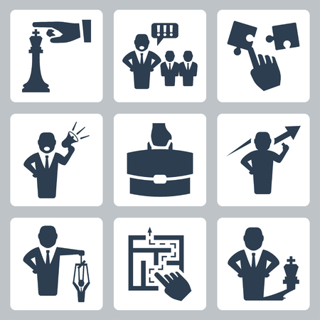 Manager and boss related vector icons set Vector