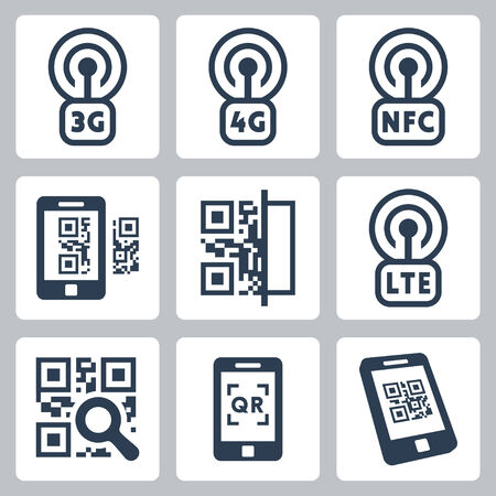 Mobile network and QR-code related vector icons set Vector