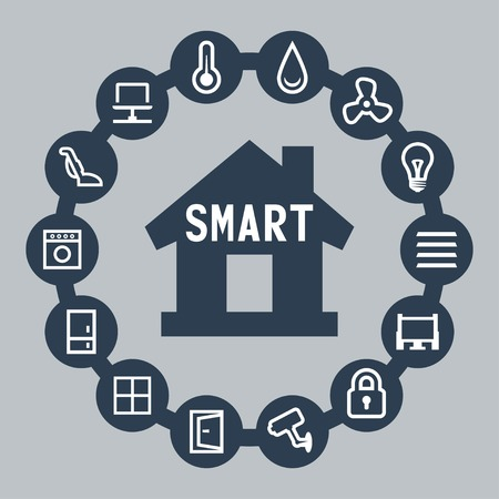 Smart house vector icons set Vector