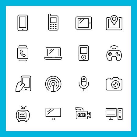 Dispositivos y tecnología de vectores iconos conjunto, estilo de línea delgada Foto de archivo - 28460850