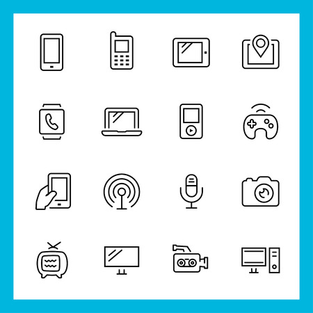 icono computadora: Dispositivos y tecnología de vectores iconos conjunto, estilo de línea delgada Vectores
