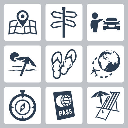chaise longue: Travel related vector icons set