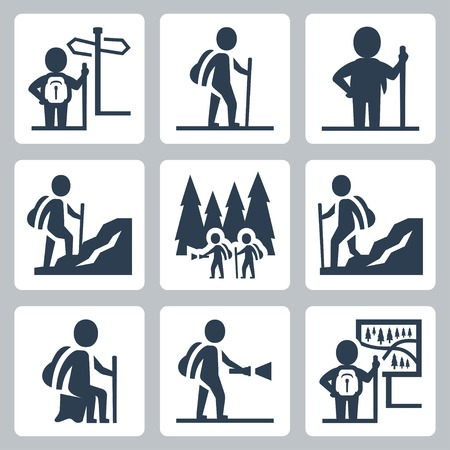Traveller vector icons set