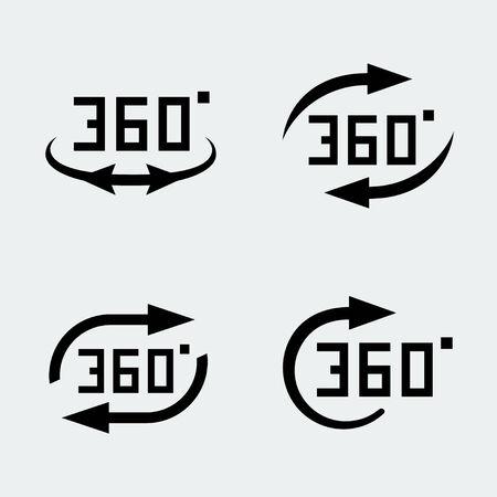 degree: 360 degree rotation concept icons set Illustration