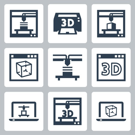 object printing: 3D printer icons set