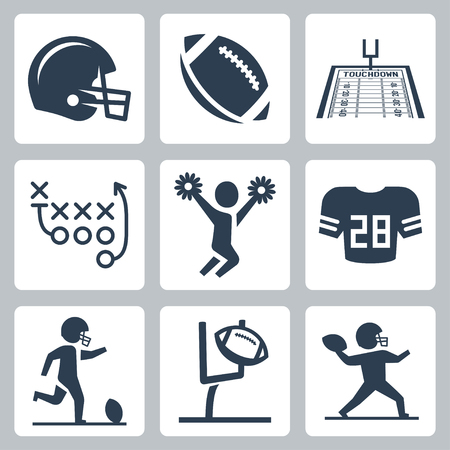 football kick: American football icons set