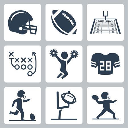 football kick: American football icons set