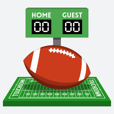 pigskin: american football field and ball composition Illustration