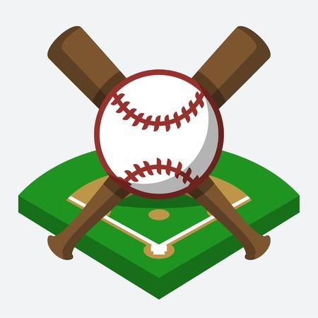 at bat: campo de béisbol, pelota y bate de composición