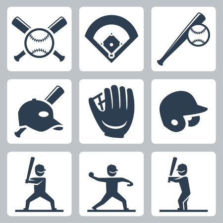 Baseball related icons set Vector