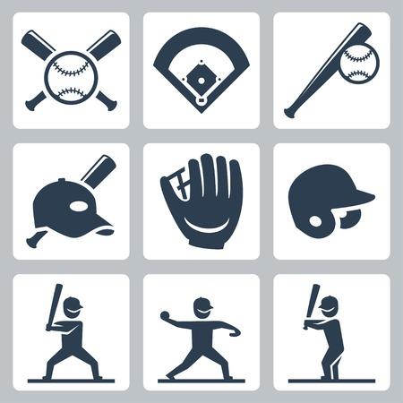 Baseball related icons set