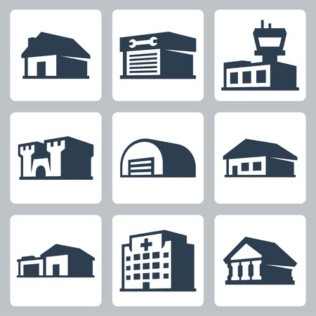 Buildings icons set, isometric style  Vector