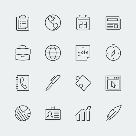 PHONE LINE: Business related icons set, thin line
