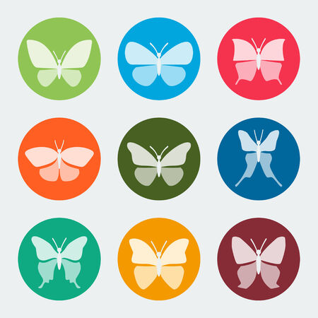 swallowtail butterfly: colorful butterflies icons set
