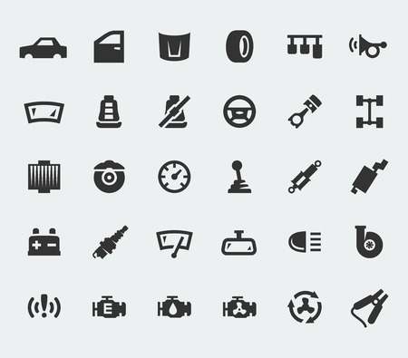 Car parts large icons set Vector
