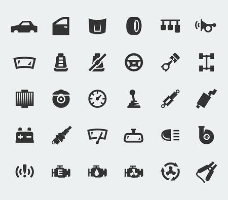 repuestos de carros: Piezas de coches grandes iconos conjunto Vectores