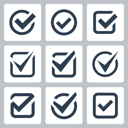 sign ok: Check box icons set Illustration