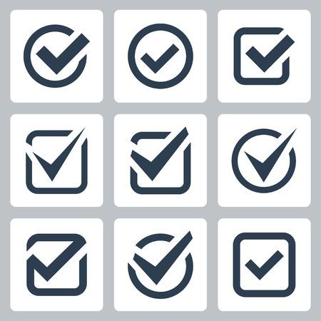 garrapata: Iconos Check Box Set Vectores