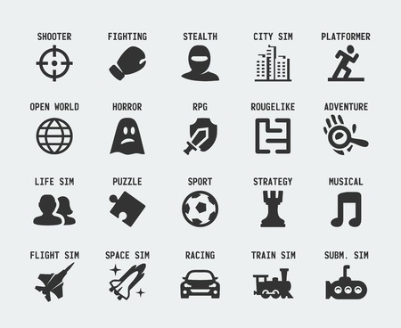 Video game genres icons set