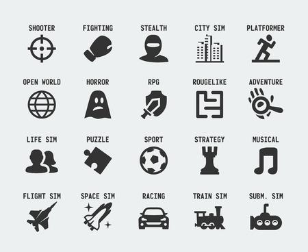 Videojuegos géneros iconos conjunto