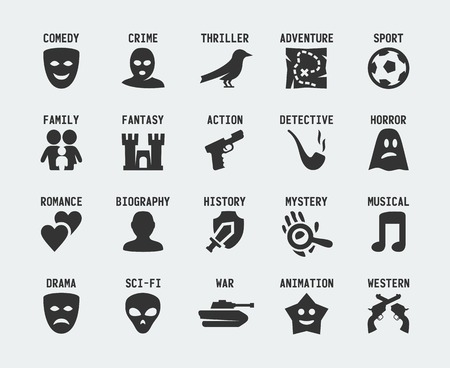 action movie: Film genres icon set Illustration