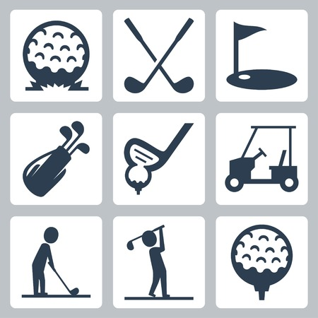 slashing: Golf icons set