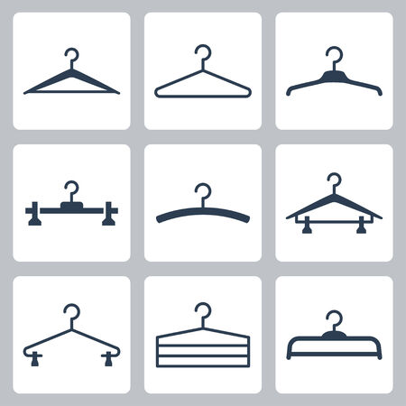 clothing rack: Hangers icons set