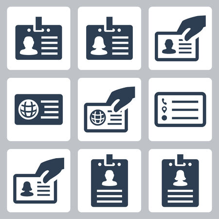staffs: ID card icons set Illustration