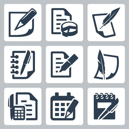 escribiendo: Documento en papel iconos conjunto