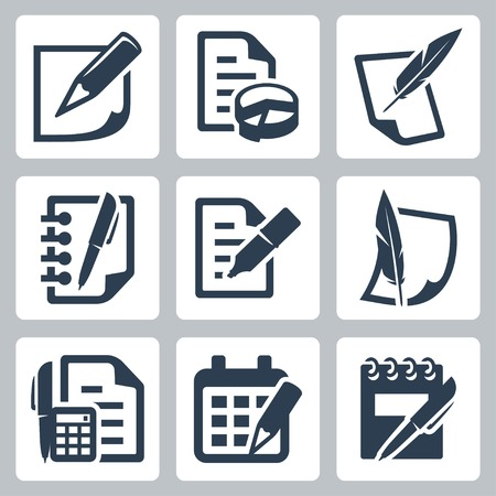 feather pen: Paper document icons set