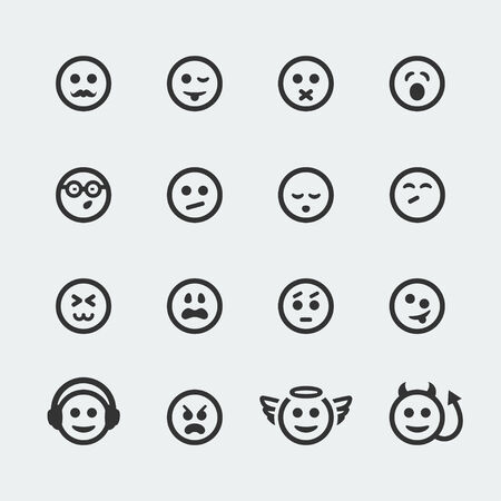 shame:  smile mini icons set  Illustration