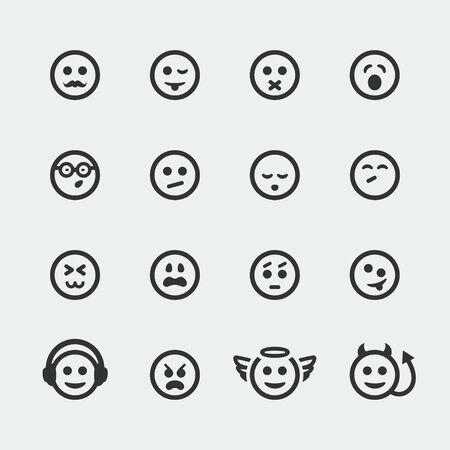 smile mini icons set  Illustration