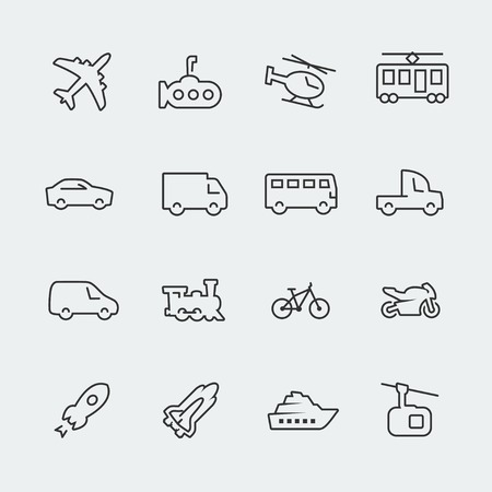 delivery van: Transport icons set, thin line