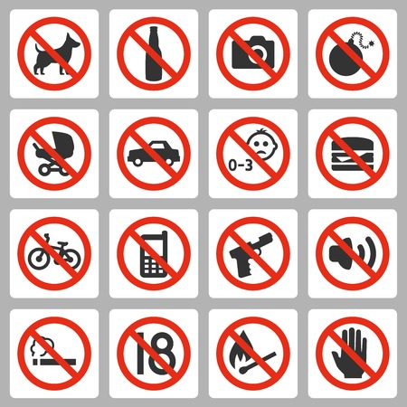 Prohibiting signs vector icons set Illustration