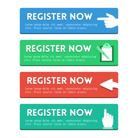 'Registreer nu' platte knoppen instellen Stock Illustratie