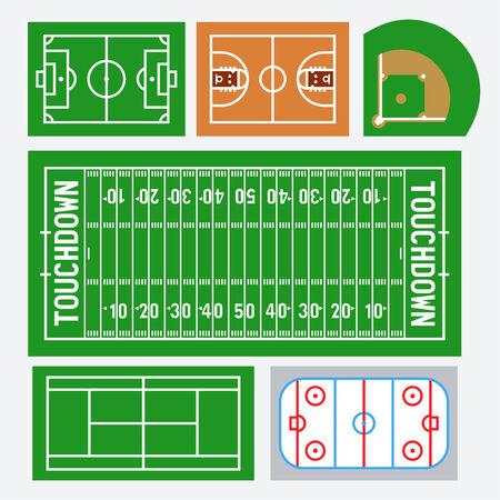 basketball court: Vector sport fields set: soccer, basketball, baseball, american football, tennis, hockey