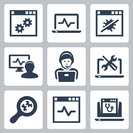 virus: Computer help-line vector icons set
