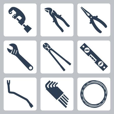 crowbar: Hand tools vector icons set