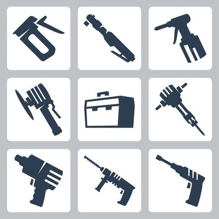 Elektrisch gereedschap vector pictogrammen instellen