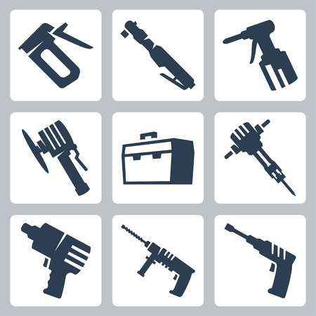 staple gun: Power tools vector icons set