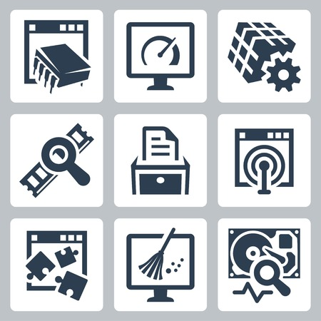 Utility software vector icons set Иллюстрация