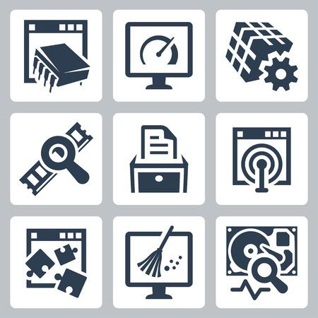 Utility software vector icons set Stock Illustratie