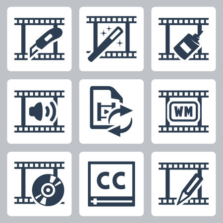 subtitles: Video editor and converter icons set